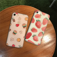 Cartoon Fruit Strawberry Case For iphone 7 Case For iphone 6S 6 Plus Fashion Hamburgers Fruit Phone Cases Back Cover Capa Fundas