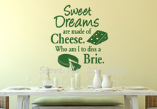 "Removable vinyl wall stickers for kitchen room ""Sweet Dreams are made of Cheese"" wall decals quotes vinilos parede mural A727(China)"