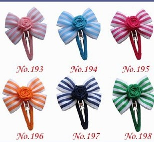 wholesales hand customize hair accessories FREE SHIPPING 100PCS Good Girl 2/2.75 New Boutique Hair Bow + Snap Clip 8 Styles 480<br>