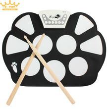 W758 Digital Portable 9 Pad Musical Instrument Electronic Roll-up Drum Kit(China)