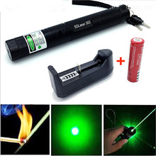 Mini High Power Green Laser Flashlight Laser 303 Lazer Laser Pointer with Free 2 Safe Key+18650 Battery+18650 US Plug Charger