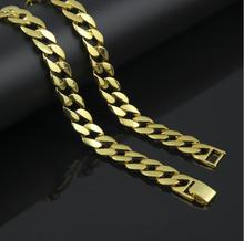 "2017 hip hop bling gold filled 30"" cuban long iced out cool mens jewelry chain gold color necklace(China)"