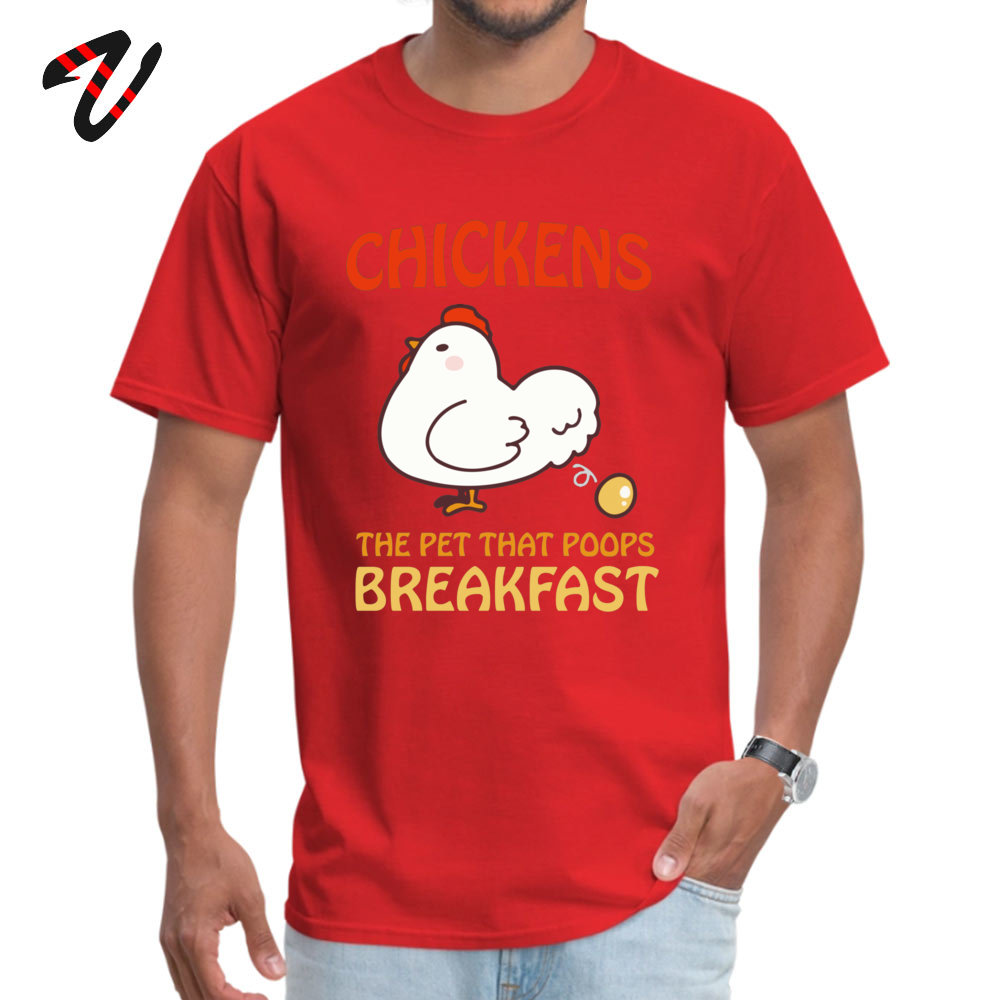 Design Prevalent Men's T-shirts Round Collar Short Sleeve 100% Cotton Fabric T Shirt Summer T Shirt Drop Shipping Chickens Pet That Poops Breakfast Funny Quote red