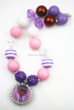 2pcs Wholesale Doc Mcstuffins chunky bubblegum kids necklace Bottlecap Pandent lovely CB448(China)