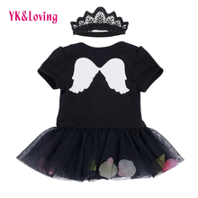 Infant Dress Black Angel Wings Baby Romper Tutu Lace Princess Clothing 2017 Newest Girls Party Dresses Children Toddler Clothes