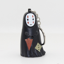 Spirited Away/A Voyage of Chihiro Japan's national style no face man figure LED keychain with sound,Flashlight keyring