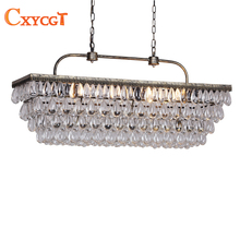 Vintage Rectangular Chandeliers LED Lighting Modern Glass Drops Chandelier Light For Home Hotel Wedding Centerpieces Decoration(China)