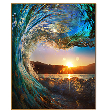 PHKV Modern Picture By Numbers Seascape Slanted Sunset DIY Frame Painting By Numbers Oil Paint Wall Art Pictures Decor For Home(China)