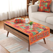 Fashion Rectangle Tablecloth Polyester Cotton Oilproof Cloth with Pocket Colorful Geometry Printed Tea Table Covers Home Textile(China)
