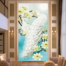New DIY White Peacock Orchid Animals Mosaic Diamond Painting Crystal Cross Stitch Decorative