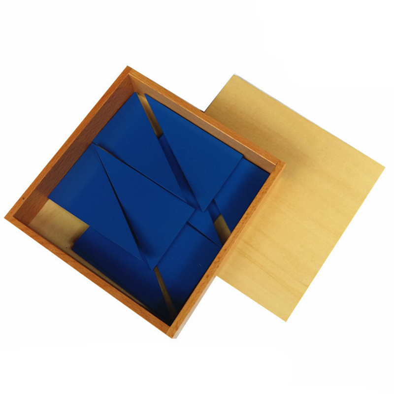 Montessori Materials Wooden Blue Triangle Box Toys Jigsaw Puzzle Baby Kids Early Learning Development Toys<br><br>Aliexpress