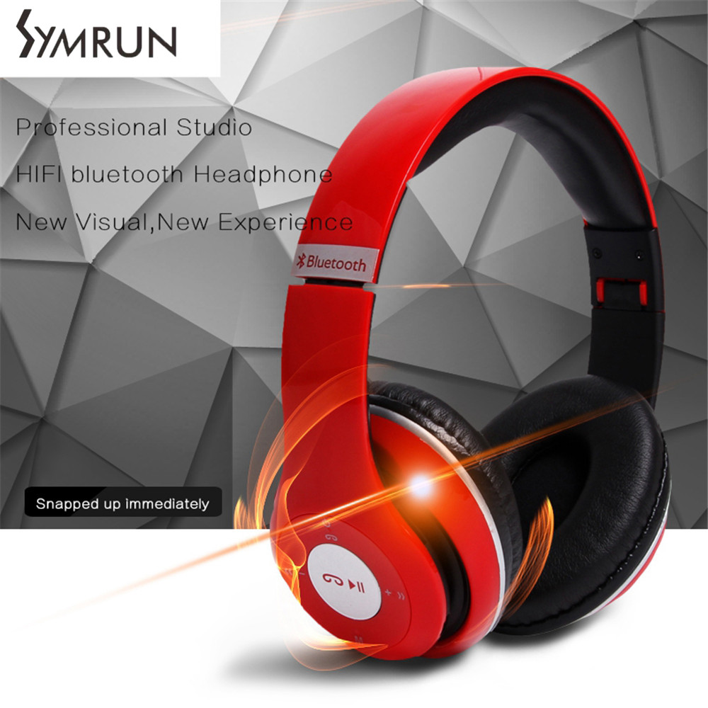 Symrun Wireless Bluetooth Headsets Foldable Headphone With Mic Support FM Radio TF Card Earphone For Samsung Galaxy<br><br>Aliexpress