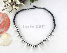 10Pcs Fashion Knitted Necklaces W/Shark Teeth Beads #20987