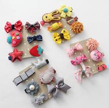 5-6pcs/lot Headwear Set Children Accessories Ribbon Bow Hair clip Hairpin Rabbit Ears for Girls Princess star Headdress T2(China)