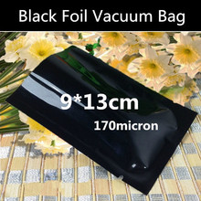 200pcs 9x13cm (3.5'' * 5.1'') 170micron 3-side Black Foil Vacuum Bag Small Open Top Foil Packaging Bag