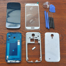White Full Housing Cover Repair Parts,Outer Glass,with Black Original Adhesive,Tools,Home Button For Samsung Galaxy S4 SIV i9505(China)