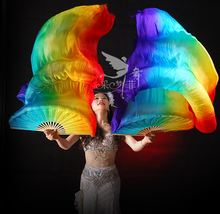 Real Silk Long Fan Veil For Belly Dance Thicker Oriental Dancing Veil Fan Right Left Hand 180cm Rainbow