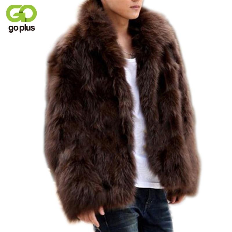 GOPLUS 2017 Winter Fashion Mens Faux Fur Coat Thick Warm Jackets Full Length Parka Fox Fur Coats Plus Size 3XL Men Overcoat