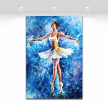 Ballerine Girl Blue Painting Palette Knife Oil Painting on Canvas Print for Living Room Bedroom Hotel Wall Decoration Art