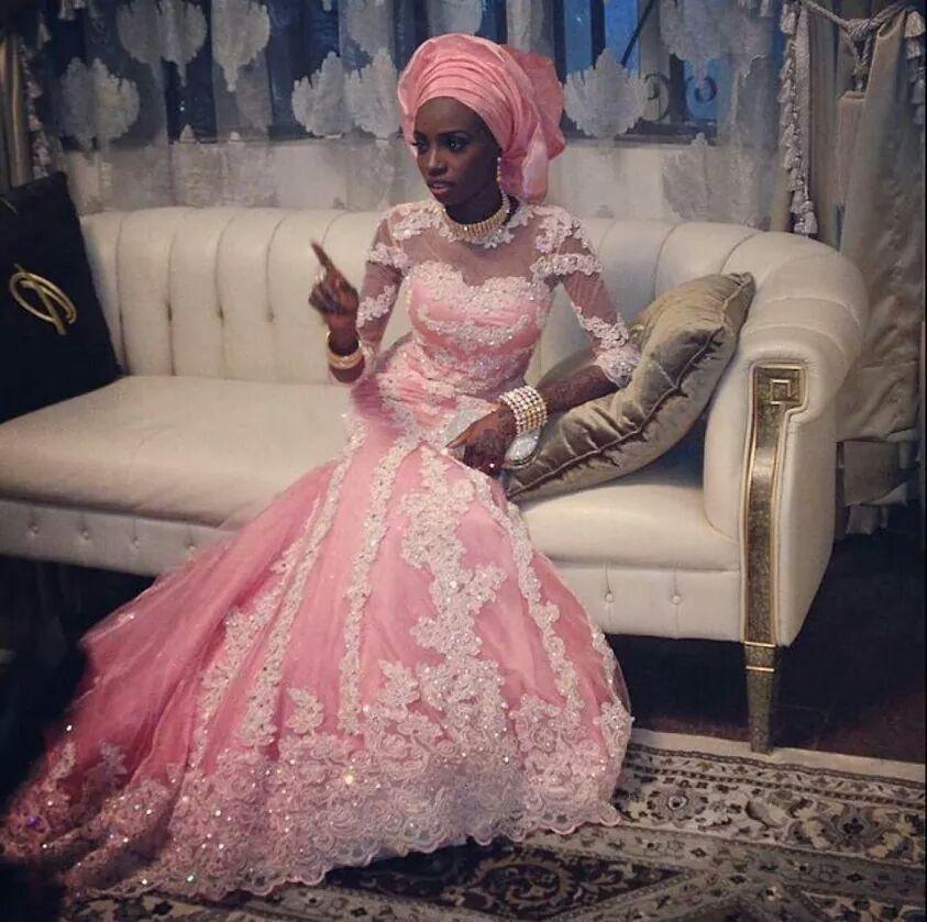 hot sale colorful pink long sleeve lace muslim wedding dress appliques stones mermaid bride dresses vestido de noiva