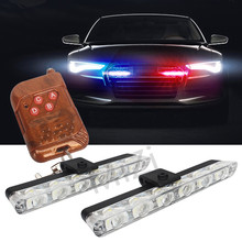 2x6 LED Wireless Remote Strobe Warning Lights 12V Car Work Light  Ambulance Police light Emergency Flashing Light Super Bright