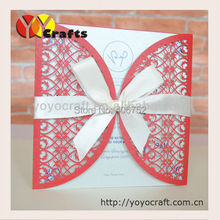 elegant FENCE design wedding supplies Chinese red wedding invitation card  wholesale laser cut handmade wedding invitation card