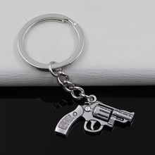 Fashion diameter 30mm Key Ring Metal Key Chain Keychain Jewelry Antique Silver Plated pistol revolver gun 29*22mm Pendant