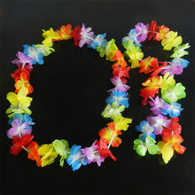 4pcs/set Hawaiian Leis Set Flower Garland Necklace Headband Bracelet Wristband Hula Party Lady Men Dance Fancy Dress Garland