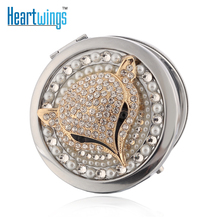 Engrave words free,bling rhinestone sexy fox,Mini Beauty pocket compact mirror makeup mirror,wedding party bridesmaid gifts(China)