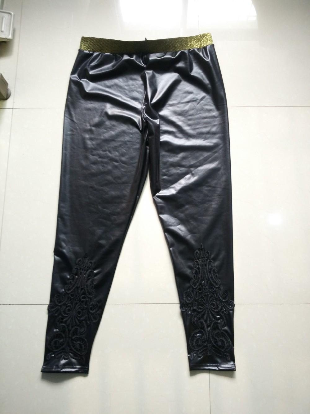 Faux Leather Leggings, Women's Lace Decoration Legging 8