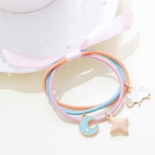 so cute pastel pink and orange color high quality elastic hair band with alloy enamal ram and star decoration