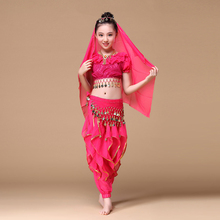 2017 Sari Children Indian Dance 4-piece Costume Set (Top, Belt, Pants and Head Pieces) Bollywood Dance Costumes for Girls