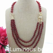 "FC060503 26"" Natural 3 Strands Faceted Round Carnelian Necklace Cz Connector"
