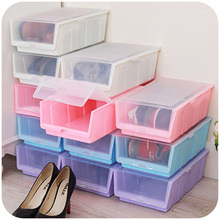 Colorful Japanese-style thick transparent plastic shoebox with a lid large multi-purpose shoe storage box SN0065(China)