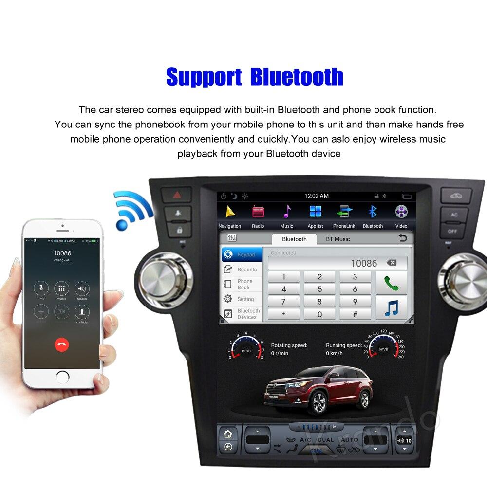 Krando Vertical screen android car radio multimedia for Toyota highlander 2009-2013 Big screen navigation with gps system (4)