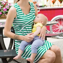 Casual Soft Women Maternity Nursing Breastfeeding Pregnant Sleeveless Dress Striped Dresses Sexy Female High Quality Dresses(China)