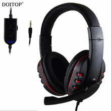 DOITOP 3.5mm Jack Game Wired Stereo Headband Headphones Handsfree Games Earphone Headset Mic Sony Games PS4 PC Mac