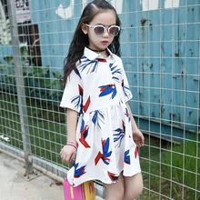 New Baby Girls 2017 Summer Dress Kids Casual Blouse Dress Children Collect Waist Baby Print Dress,3-14Y,#2164(China)