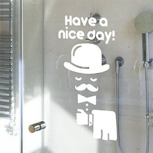 Prudence a little old man home decorations ideas cute wall sticker paper toilet bathroom shower waterproofing