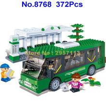 8768 372pcs City School Bus Building Block Brick Toy(China)