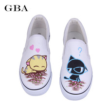 Gba Free Shipping 2017 Summer Women Hand Painted Fashion White Low-Top Casual Flat Rihanna Creepers Best Autumn Shoes Women's Gg(China)
