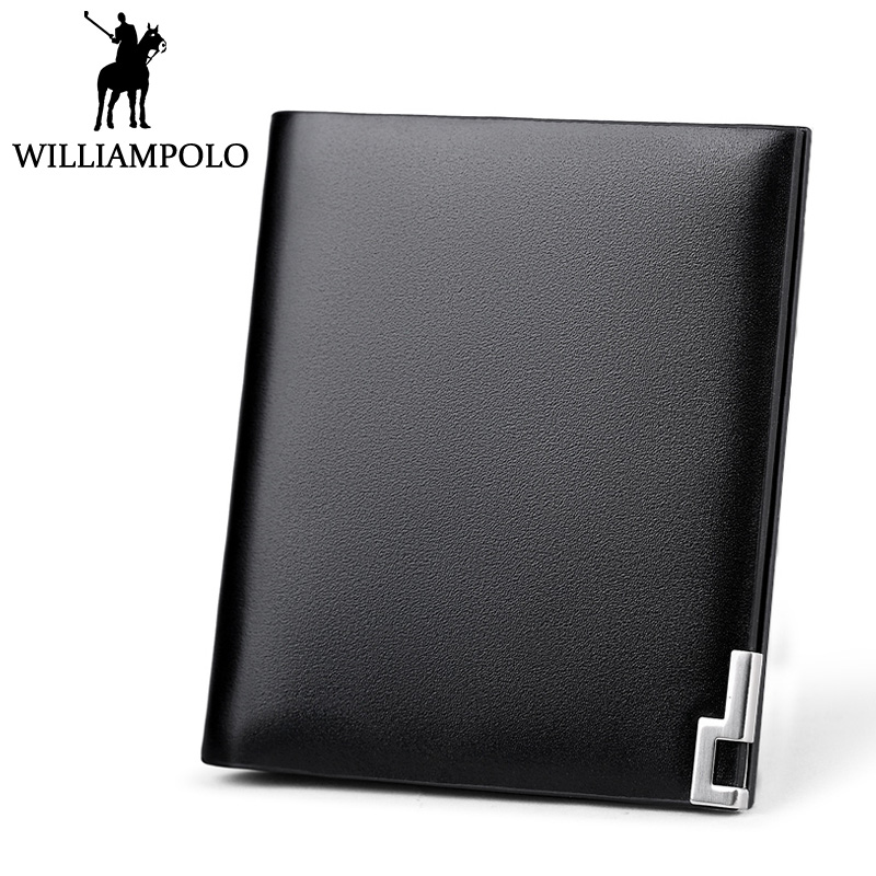 Williampolo Metal Mini Wallet Men Leather Slim Bifold Purse Pouch Fashion Front Pocket Real Leather Purse Short Small Wallet Man<br>