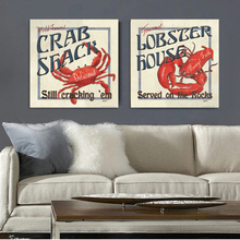 2015 Hot 2 Panel Marine animals crab lobster canvas wall art home decoration painting the living room office feng shui wall art(China)