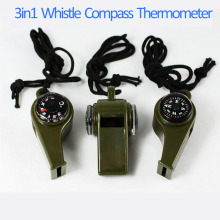 1PC New black Whistle Compass 3 in1 Survival Camping Thermometer new brand(China)