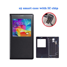 Fashion PU Leather Flip Phone Cases for Samsung Galaxy S5 Case Smart for Samsung S5 Cover Window Bags Shell Cover IC Chip Coque