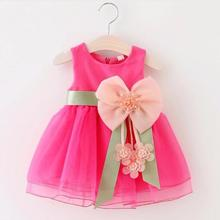 2017 Baby Girls Dress Big Bowknot Infant Party Dress For Toddler Girl First Brithday Baptism Clothes Double Formal Tutu Dresses(China)