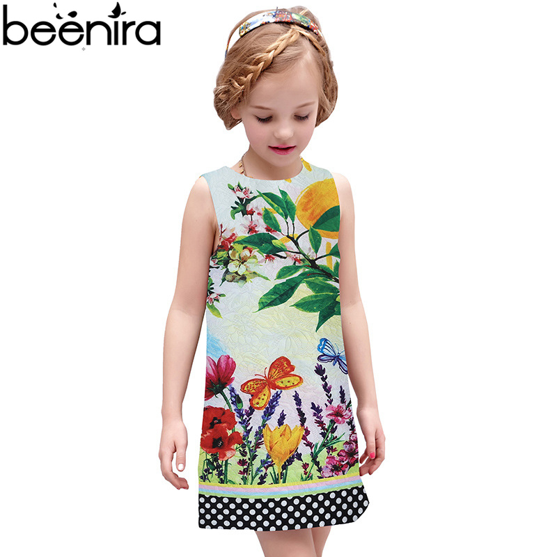 BEENIRA Summer Girls Dresses Kids 3D Fabric Princess Dress Children Print Vest Clothing For Party High Quality<br>
