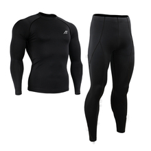 Black Compression Shirt Long Sleeve Base Layer Under Skin Tight Gym Training/Outdoor Sport MMA S~4XL(China)