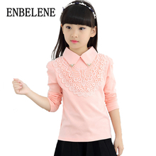 2017 autumn girls casual knit lace blouses full sleeve for children white pink cotton kids turn down collar base shirt FE305