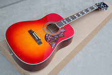 Factory Custom cherry sunburst 41'' Hummingbird Acoustic Guitar with white binding,chrome tuners,can be customized